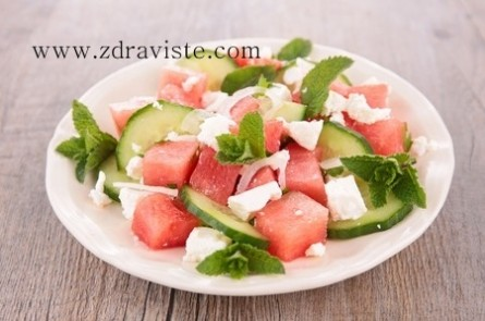 Summer salad with watermelon and cucumber